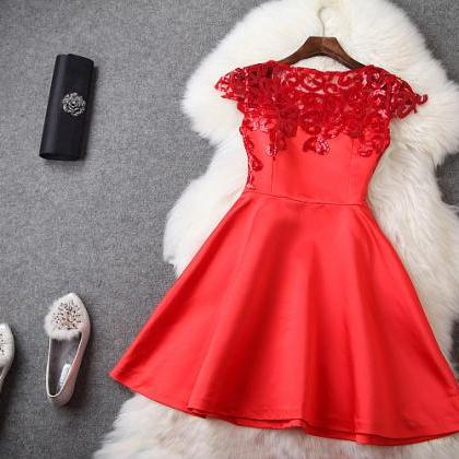 Beaded And Crochet Dress In Red