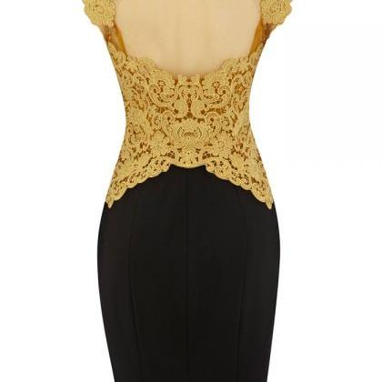 Embroidered Crochet Dress In Golden..