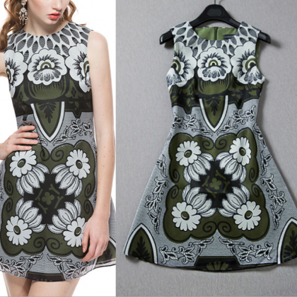 2015 vintage printed sleeveless dre..