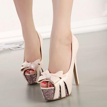 Fashion Round Peep Toe Bow-Tie Desi..