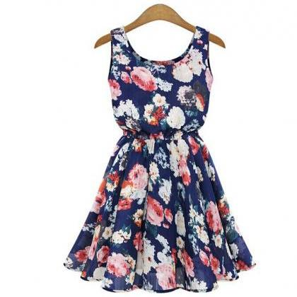 Women's Casual Blue O-Neck Floral A..