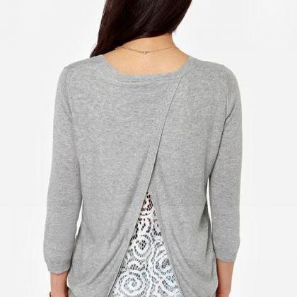 New Women Long Sleeve Knitted Behin..