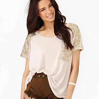 Fashion Sequins Loose Casual Round ..
