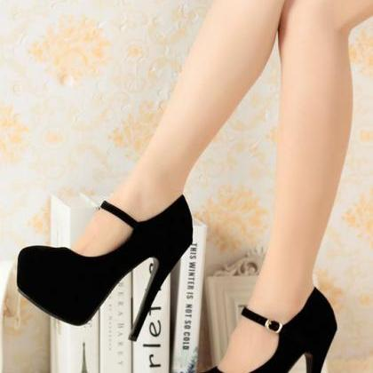 Suede Buckle Design High Heels Shoe..