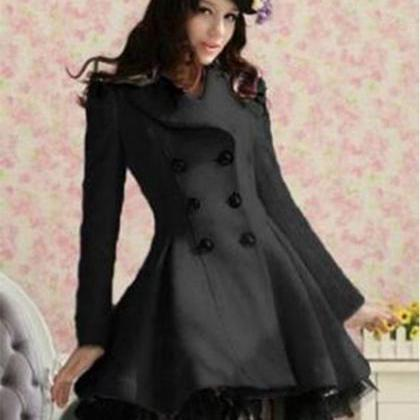 Black Wool Long Winter Dress Coat