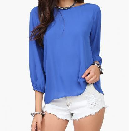Casual Chiffon Blouses Top With Bow..