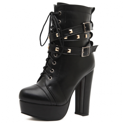 Stylish Black Lace Up Buckle Design..