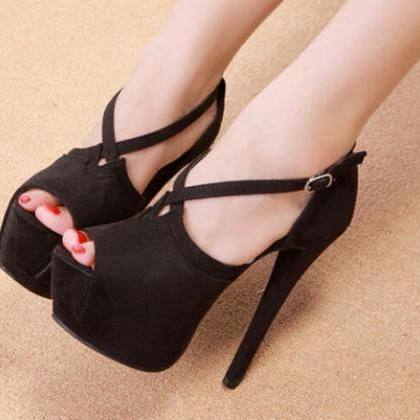 Peep Toe Cross Strap Peep Toe High ..