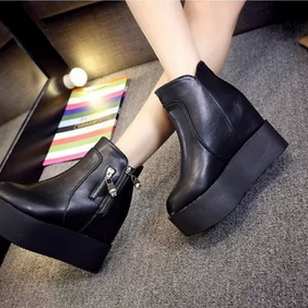 Side Zipper Design Black Platform W..