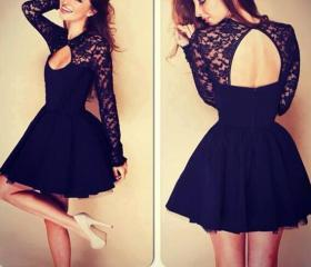 Black Lace Stitching Dress