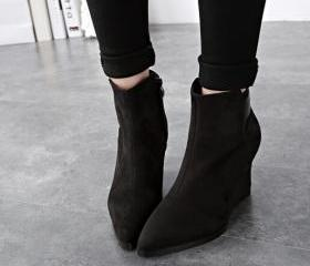 Pointed Toe Black Suede Ankle Boots