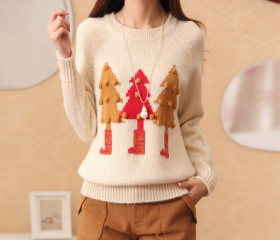 Beige Christmas Tree Printed Sweaters