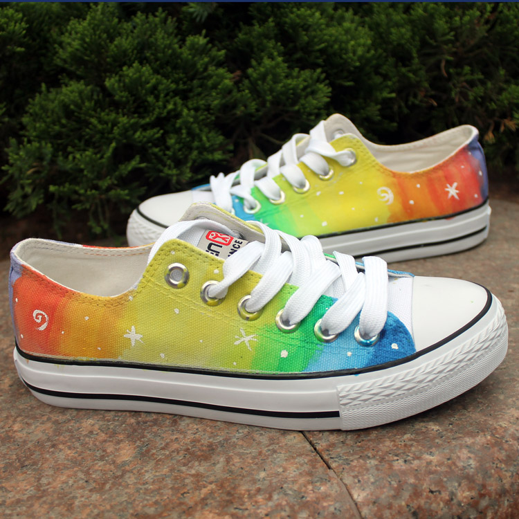 rainbow color pattern painted canvas sneakers
