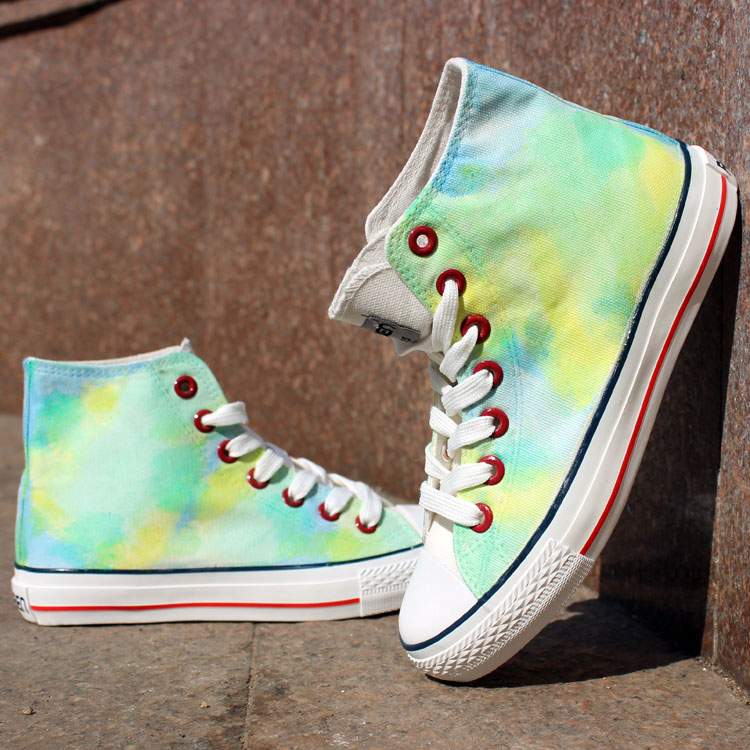 Green Color Tie Dye Hand Painted High Top Canvas Sneakers