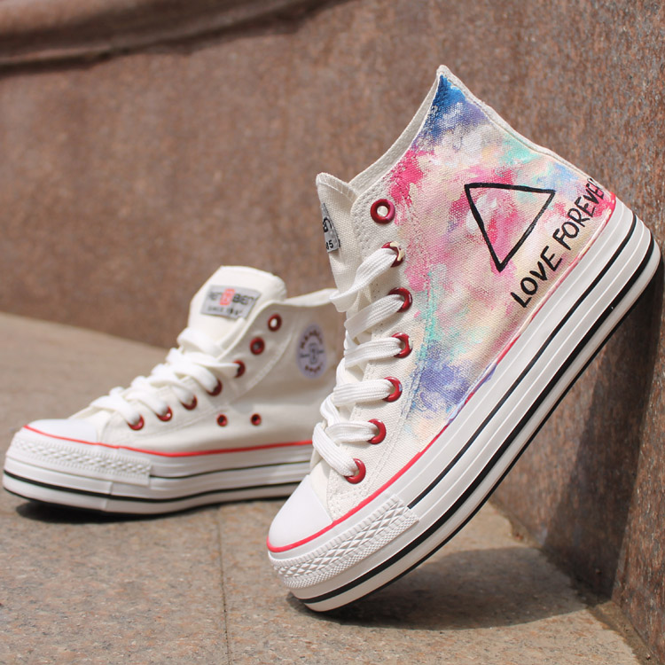 White Triangle Pattern Hand Painted High Top Canvas Sneakers