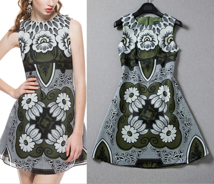 2015 vintage printed sleeveless dresses
