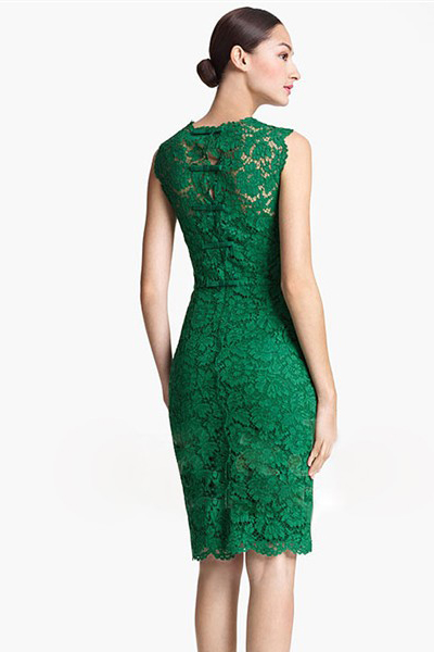 Fashion Mandarin Collar Sleeveless Green Lace Sheath Mini Dress on ...