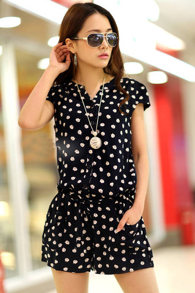 Korean Short Sleeve Solid Regular Dot Cotton Polka Jumpsuits