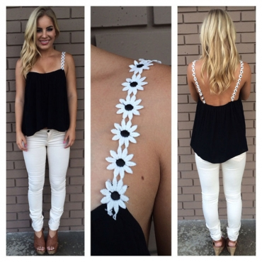 Casual Backless Patchwork Black Camisole