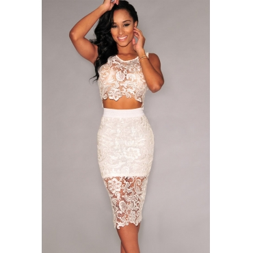 Cheap Sexy O Neck Tank Sleeveless Floral Lace Hollow-Out White Polyester Two-Piece Sheath Knee Length Skit Set