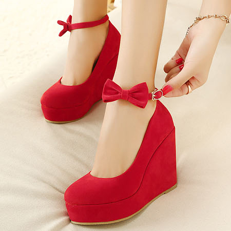 Red Flannelette Ankle With Wedges Bow