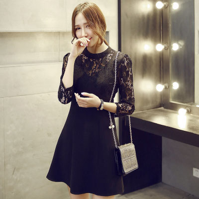Elegant Black Slim Thin Sexy Lace Sleeve Dress