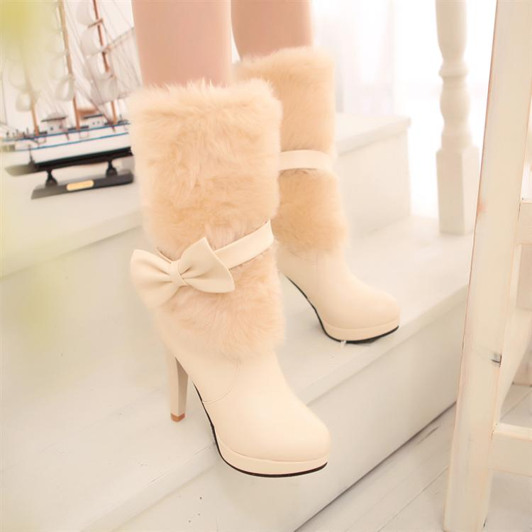 Super Cute High Heel Bow Design Winter Boots In Beige
