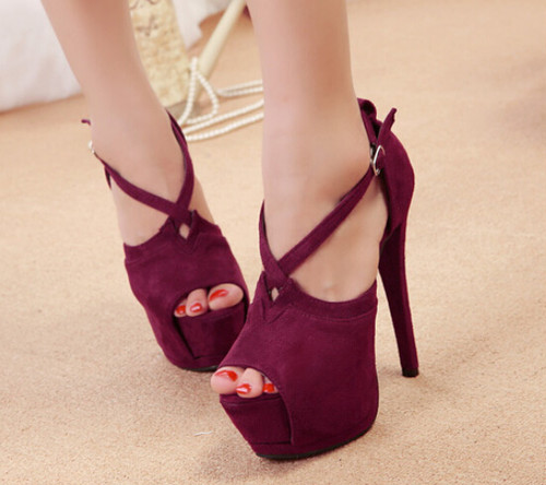 Peep Toe Cross Strap Peep Toe High Heels