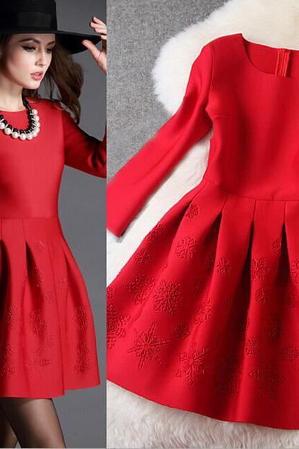 Fashionable nine points sleeve The red dress