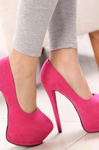 Sexy Stiletto Heels Fashion Shoes In Rose Red