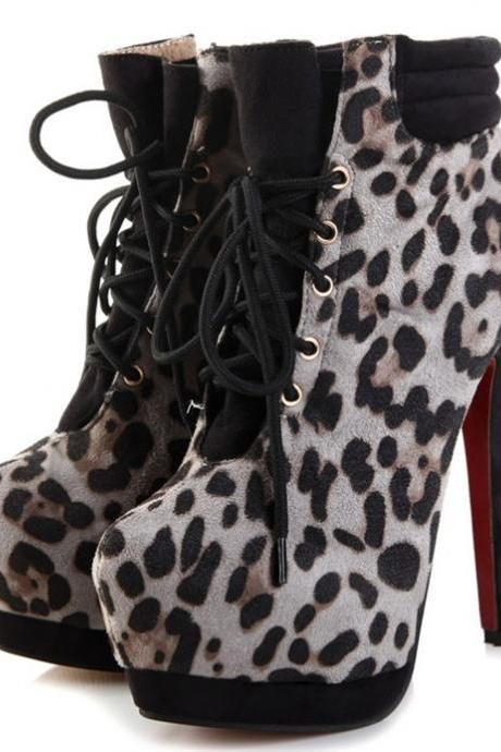 Leopard Print High Heel Ladies Fashion Boots