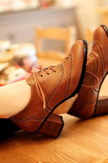 Classy Brown Lace Up Oxford Shoes