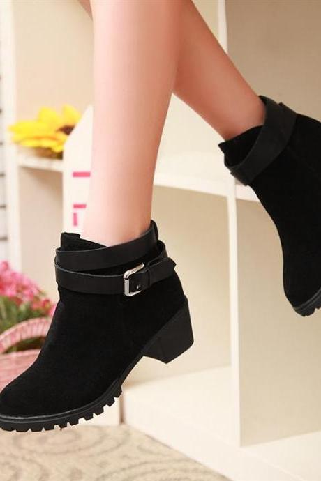 Black Chunky Heel Autumn And Winter Biker Boots
