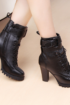 Chunky Heel Black Lace Up Ankle Boots