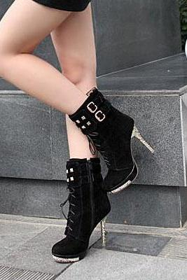 Sexy Rivet Design Black Suede High Heel Winter Boots
