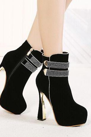 Elegant Black Rhinestone Design High Heel Fashion Boots