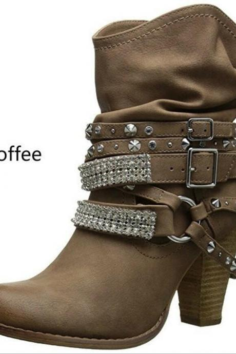 Europe and the United States new boots high heel thick with belt buckle women's shoes boots