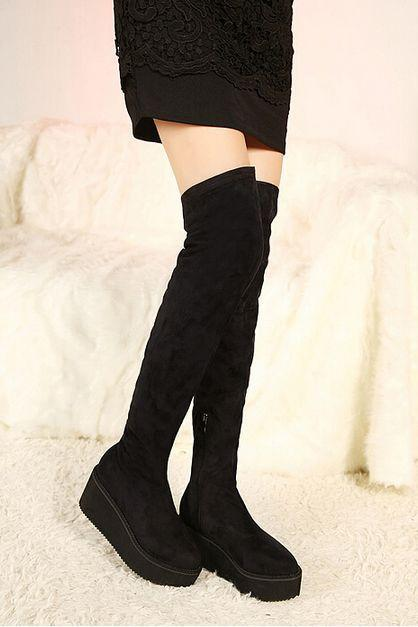 Black Knee Length Suede Platform Boots