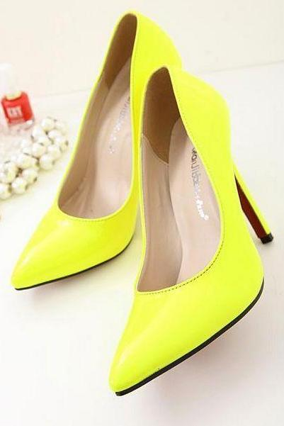 Neon Yellow Patent Leather Pointed-Toe High Heel Stilettos