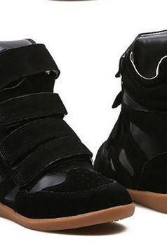 Pure Black Straps Closure Design High Quality Sneakers