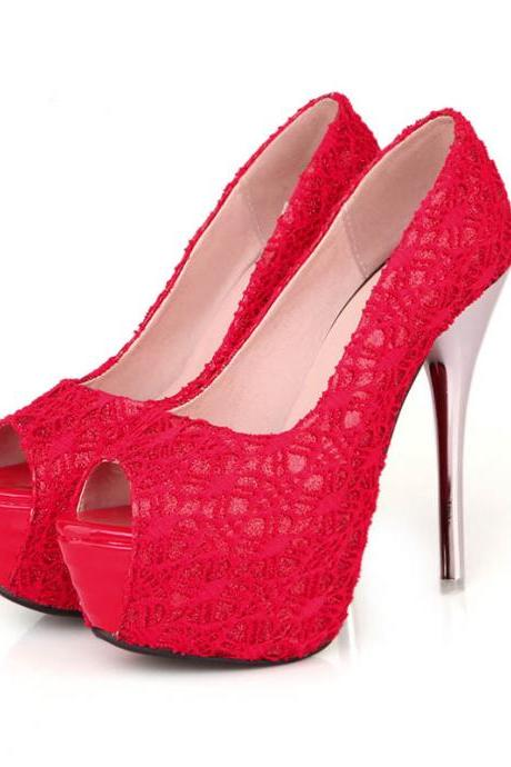 Gorgeous Peep Toe Lace Design High Heel Shoes