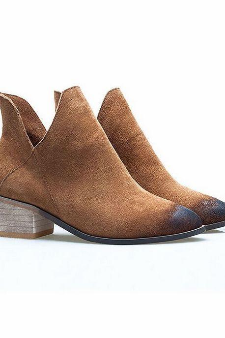 Chunky Heel Pointed-Toe Leather Boots with Deep Side Notch