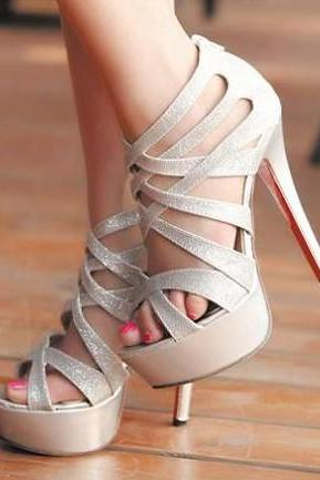 Metallic Silver Strappy High Heel Pumps