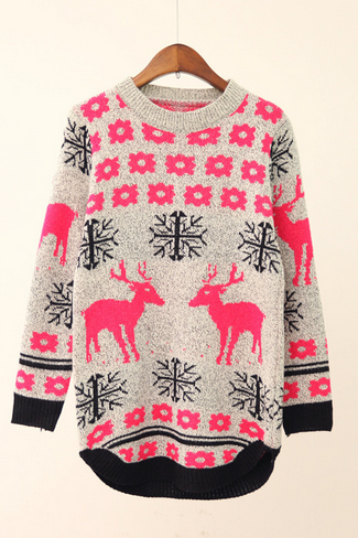 The Deer Printing Long-Sleeved Sweater