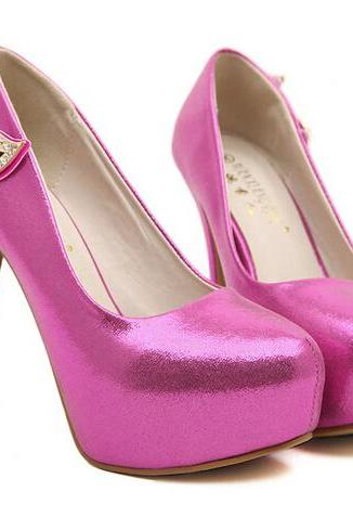 Pointed Toe Rose Colored Diamond Bling Design High Heel Shoes