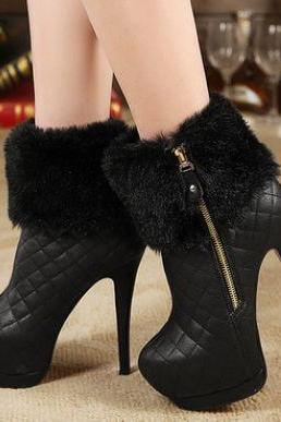 Elegant Faux Fur Black And White High Heel Ankle Boots