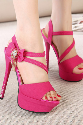 Bow Charmed Peep Toe High Heel Sandals