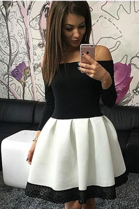 Off Shoulder Long Sleeve Dress with Lace