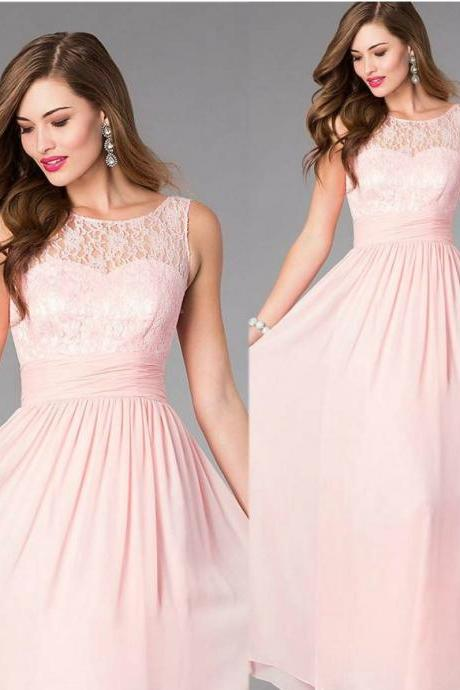 Lace and Chiffon Long Evening Dress