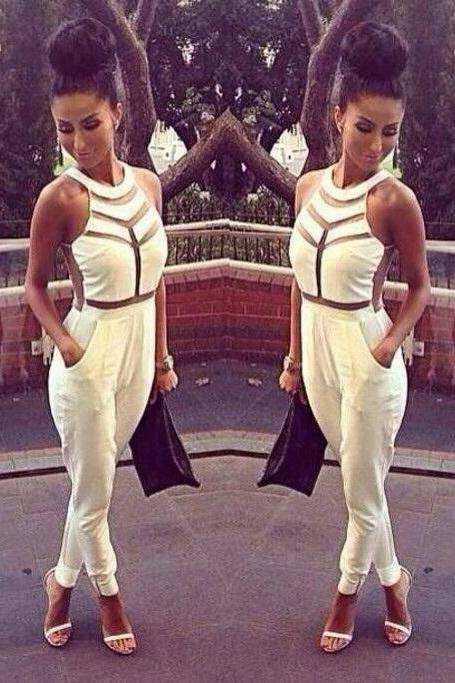Classy Halter Black and White Jumpsuit
